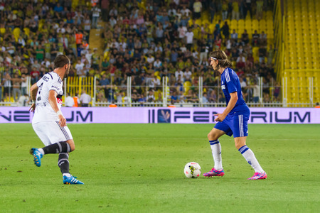 luis: ISTANBUL - AUGUST 08, 2014: Chelsea player Filipe Luis is attacking to Besiktas in Soma Charity Tournament in Sukru Saracoglu Stadium. Editorial