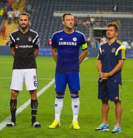 ISTANBUL - AUGUST 08, 2014: Chelsea, Fenerbahce and Besiktas captains during award ceremony of Soma Charity Tournament in Sukru Saracoglu Stadium.