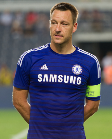 ISTANBUL - AUGUST 08, 2014: Chelsea captain John Terry during award ceremony of Soma Charity Tournament in Sukru Saracoglu Stadium.