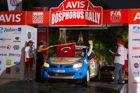 bulbet: ISTANBUL, TURKEY - AUGUST 15, 2014: Todor Slavov with Renault Clio R3 car of Bulbet Rally Team in ceremonial start of Avis Bosphorus Rally