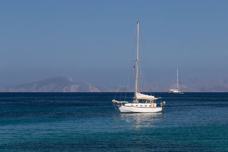 Sailboat in Datca Town, Aegean Coast of Turkey Stok Fotoğraf