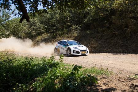 ISTANBUL, TURKEY - AUGUST 16, 2014: Halid Avdagic drives Avitas Control 2 car in Avis Bosphorus Rally, Deniz Stage