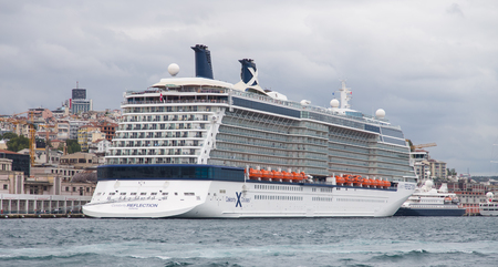 tonnage: ISTANBUL, TURKEY - AUGUST 30, 2014: Celebrity Reflection cruise ship in Istanbul port. Ship has 3,046 passenger capacity with 125.366 Gross tonnage.