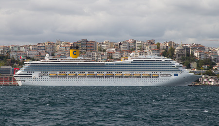 tonnage: ISTANBUL, TURKEY - AUGUST 30, 2014: Costa Magica cruise ship in Istanbul port. Ship has 3,470 passenger capacity with 102.587 Gross tonnage.