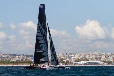 barker: ISTANBUL, TURKEY - SEPTEMBER 13, 2014: Skipper Dean Barker, Emirates Team New Zealand competes in Extreme Sailing Series.