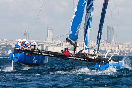 igor: ISTANBUL, TURKEY - SEPTEMBER 13, 2014: Skipper Igor Lisovenko, Gazprom Team Russia competes in Extreme Sailing Series.