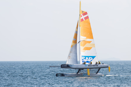 ISTANBUL, TURKEY - SEPTEMBER 14, 2014: Skipper Rasmus Kostner, SAP Team competes in Extreme Sailing Series.