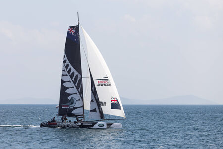 barker: ISTANBUL, TURKEY - SEPTEMBER 14, 2014: Skipper Dean Barker, Emirates Team New Zealand competes in Extreme Sailing Series.