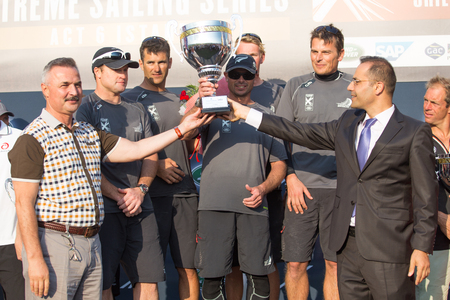 barker: ISTANBUL, TURKEY - SEPTEMBER 14, 2014: Skipper Dean Barker, Emirates Team New Zealand in podium of Extreme Sailing Series. Editorial