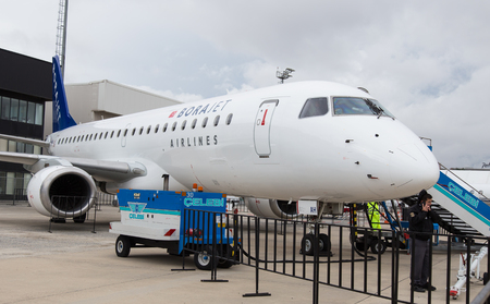 ISTANBUL, TURKEY - SEPTEMBER 27, 2014: Borajet Embraer E190 in Istanbul Airshow which held in Ataturk Airport