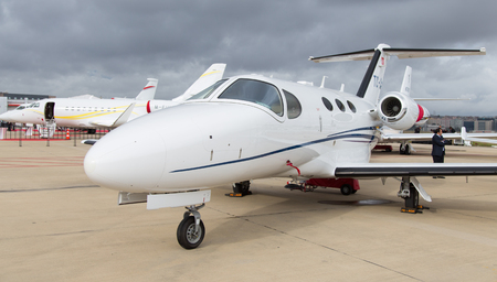 citation: ISTANBUL, TURKEY - SEPTEMBER 27, 2014: Cessna 510 Citation Mustang in Istanbul Airshow which held in Ataturk Airport