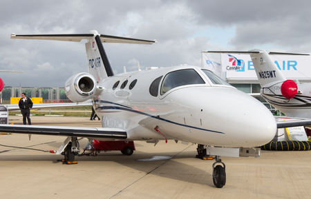 cessna: ISTANBUL, TURKEY - SEPTEMBER 27, 2014: Cessna 510 Citation Mustang in Istanbul Airshow which held in Ataturk Airport