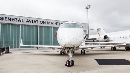 bombardier: ISTANBUL, TURKEY - SEPTEMBER 27, 2014: Bombardier Challenger 300 in Istanbul Airshow which held in Ataturk Airport