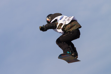 ISTANBUL, TURKEY - DECEMBER 20, 2014: Henna IKOLA jump in FIS Snowboard World Cup Big Air. This is first Big Air event for both, men and women.