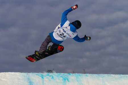 ISTANBUL, TURKEY - DECEMBER 20, 2014: Brett Moody jump in FIS Snowboard World Cup Big Air. This is first Big Air event for both, men and women.
