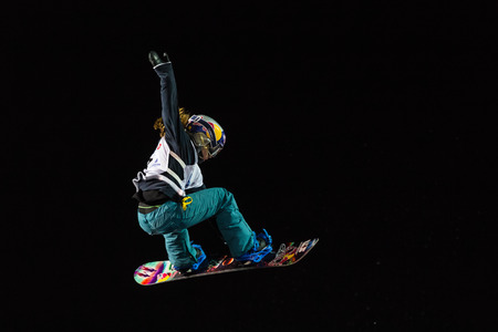 ISTANBUL, TURKEY - DECEMBER 20, 2014: Ty Walker jump in FIS Snowboard World Cup Big Air. This is first Big Air event for both, men and women.