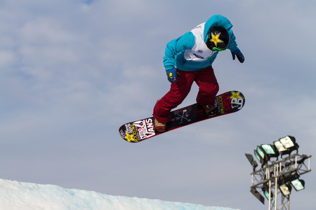 fis: ISTANBUL, TURKEY - DECEMBER 20, 2014: Cheryl Maas jump in FIS Snowboard World Cup Big Air. This is first Big Air event for both, men and women. Editorial