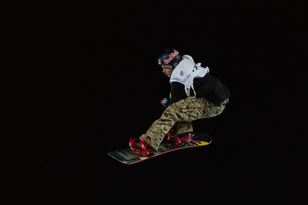 ISTANBUL, TURKEY - DECEMBER 20, 2014: Seppe Smits jump in FIS Snowboard World Cup Big Air. This is first Big Air event for both, men and women.