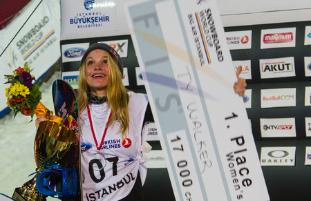 fis: ISTANBUL, TURKEY - DECEMBER 20, 2014: Ty Walker is winner of Womans FIS Snowboard World Cup Big Air. This is first Big Air event for both, men and women.