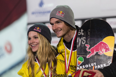 ISTANBUL, TURKEY - DECEMBER 20, 2014: Ty Walker and Seppe Smits in podium of FIS Snowboard World Cup Big Air. This is first Big Air event for both, men and women.