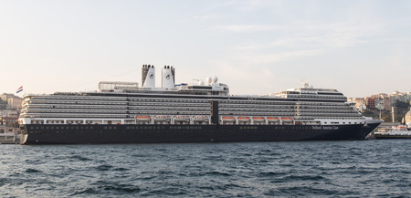 ms: ISTANBUL, TURKEY - OCTOBER 07, 2014: MS Nieuw Amsterdam cruise ship in Istanbul Port. Ship has 2,106 passenger capacity with 86,700 gross tons.