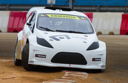 fia: ISTANBUL, TURKEY - OCTOBER 11, 2014: Sebastien Eriksson drives RX Lites of OlsbergsMSE Team in FIA World Rallycross Championship.