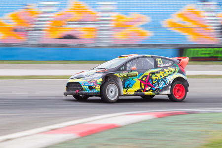 fia: ISTANBUL, TURKEY - OCTOBER 11, 2014: Bohdan Ludwiczak drives Ford Fiesta in FIA World Rallycross Championship.