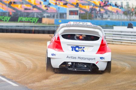 fia: ISTANBUL, TURKEY - OCTOBER 11, 2014: Fatih Kara drives RX Lites of Toksport WRT Team in FIA World Rallycross Championship. Editorial