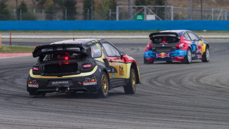 ISTANBUL, TURKEY - OCTOBER 11, 2014: Petter Solberg drives Citroen DS3 of Petter Solberg World RX Team in FIA World Rallycross Championship.