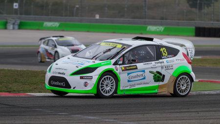 fia: ISTANBUL, TURKEY - OCTOBER 11, 2014: Daniel Holten drives RX Lites in FIA World Rallycross Championship.