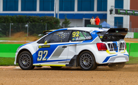 fia: ISTANBUL, TURKEY - OCTOBER 11, 2014: Anton Marklund drives VW Polo of Marklund Motorsport Team in FIA World Rallycross Championship.