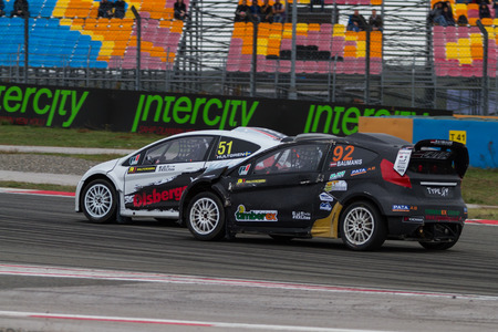 fia: ISTANBUL, TURKEY - OCTOBER 11, 2014: Janis Baumanis drives RX Lites of Set Promotion Team in FIA World Rallycross Championship. Editorial