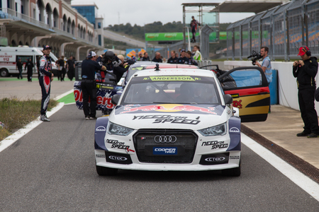 ralli: ISTANBUL, TURKEY - OCTOBER 11, 2014: Per Gunnar Andersson with Audi S1 of EKS Team in start during FIA World Rallycross Championship.