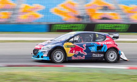 fia: ISTANBUL, TURKEY - OCTOBER 11, 2014: Timmy Hansen drives Peugeot 208 of Team Peugeot Hansen in FIA World Rallycross Championship.