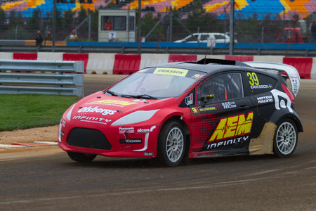 fia: ISTANBUL, TURKEY - OCTOBER 11, 2014: Kevin Eriksson drives RX Lites of OlsbergsMSE Team in FIA World Rallycross Championship.