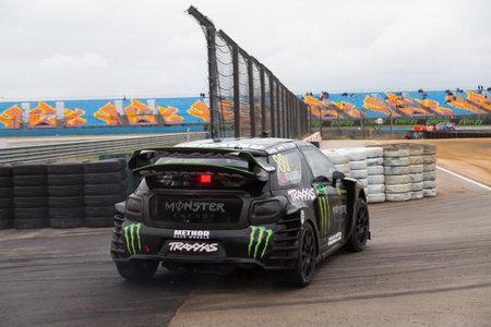 fia: ISTANBUL, TURKEY - OCTOBER 11, 2014: Henning Solberg drives Citroen DS3 of LD Motorsports Team in FIA World Rallycross Championship.