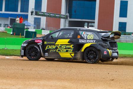 motorsports: ISTANBUL, TURKEY - OCTOBER 11, 2014: Derek Tohill drives Citroen DS3 of LD Motorsports Team in FIA World Rallycross Championship. Editorial