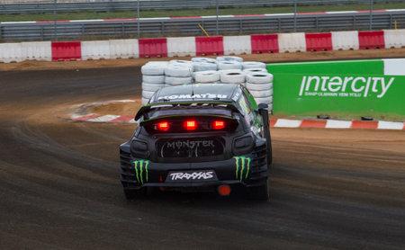 motorsports: ISTANBUL, TURKEY - OCTOBER 11, 2014: Lars Oivind Enerberg drives Citroen DS3 of LD Motorsports Team in FIA World Rallycross Championship.