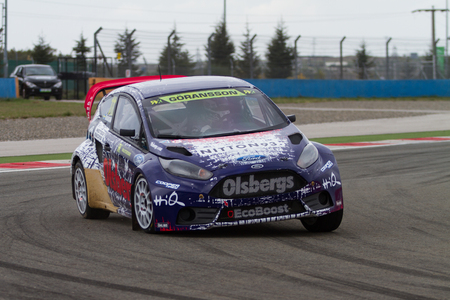 fia: ISTANBUL, TURKEY - OCTOBER 11, 2014: Richard Goransson drives Ford Fiesta ST of Olsbergs Team in FIA World Rallycross Championship. Editorial