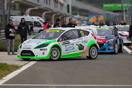 ralli: ISTANBUL, TURKEY - OCTOBER 11, 2014: Daniel Holten with RX Lites in start during FIA World Rallycross Championship.