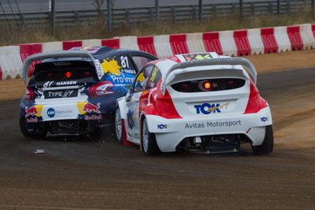 fia: ISTANBUL, TURKEY - OCTOBER 11, 2014: Kevin Hansen and Yigit Timur FIA World Rallycross Championship. Editorial