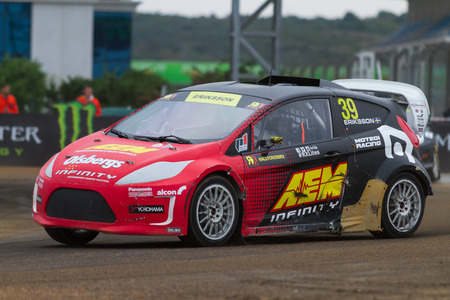 fia: ISTANBUL, TURKEY - OCTOBER 12, 2014: Kevin Eriksson drives RX Lites of OlsbergsMSE Team in FIA World Rallycross Championship.