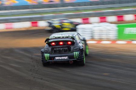 fia: ISTANBUL, TURKEY - OCTOBER 12, 2014: Lars Oivind Enerberg drives Citroen DS3 of LD Motorsports Team in FIA World Rallycross Championship. Editorial