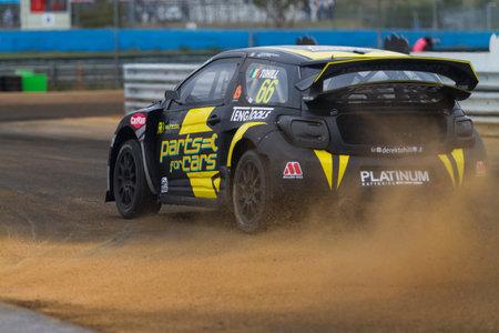fia: ISTANBUL, TURKEY - OCTOBER 12, 2014: Derek Tohill drives Citroen DS3 of LD Motorsports Team in FIA World Rallycross Championship. Editorial