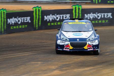 fia: ISTANBUL, TURKEY - OCTOBER 12, 2014: Kevin Hansen drives RX Lites in FIA World Rallycross Championship.
