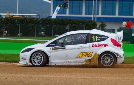 fia: ISTANBUL, TURKEY - OCTOBER 12, 2014: Sebastien Eriksson drives RX Lites of OlsbergsMSE Team in FIA World Rallycross Championship.
