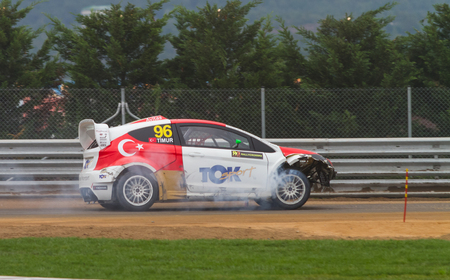 fia: ISTANBUL, TURKEY - OCTOBER 12, 2014: Yigit Timur drives RX Lites of Toksport WRT Team in FIA World Rallycross Championship.