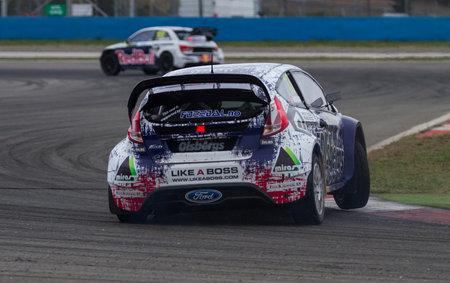 fia: ISTANBUL, TURKEY - OCTOBER 12, 2014: Andreas Bakkerud drives Ford Fiesta ST of Olsbergs MSE Team in FIA World Rallycross Championship. Editorial