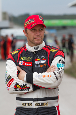 fia: ISTANBUL, TURKEY - OCTOBER 12, 2014: Petter Solberg before start of race during FIA World Rallycross Championship.