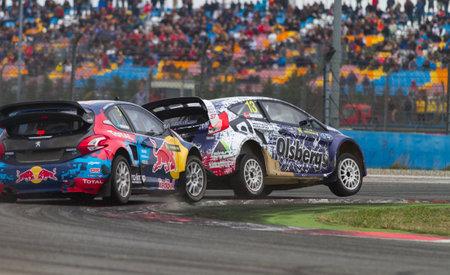 fia: ISTANBUL, TURKEY - OCTOBER 12, 2014: Timmy Hansen and Andreas Bakkerud in FIA World Rallycross Championship.